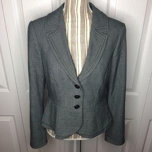 WHBM grey basket weave pattern blazer